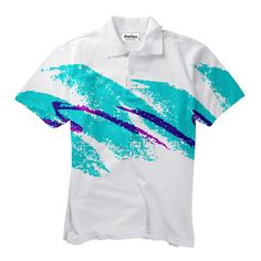 Jazz Wave Short-Sleeve Button Down Shirt by Shelfies Button Down Shirt, Button Shirts, Polo Shirts, Make You Smile, Tie Dye, How To Make, How To Wear, Crop Tops, Hoodies