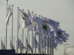 Flags with COP21 logo flying outside the conference building in Paris. Photo by Brian Kaylor.