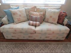 Contemporary Ethan Allen Sleeper Sofa With Two Glass And Metal Side Tables  And Floral Decorated Porcelain
