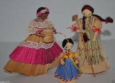 "LOT OF 3 VINTAGE/ANTIQUE CORN HUSK DOLL FIGURES 3""-5"" Mexican, Japanese, Indian"