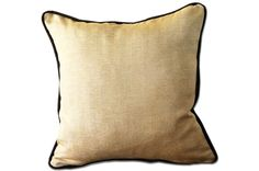 Gold pillow cover with brown trim