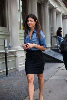 denim shirt-black pencil skirt .