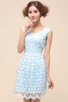 ROMWE | Dual-tone Blue Dress, The Latest Street Fashion #ROMWEROCOCO