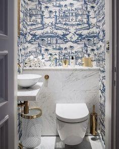 Cheap Home Decor blue and white powder bath.Cheap Home Decor blue and white powder bath Chinese Wallpaper, Bathroom Wallpaper, Guest Bathroom, Cheap Home Decor, House Interior, Bathroom Interior, Amazing Bathrooms, Bathroom Decor, Blue And White Wallpaper