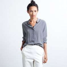 Everlane Band Collar Silk Blouse