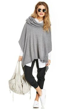 What could possibly be more quintessential for fall than a grey cowl neck poncho? Simply wear it with a pair of soft track pants and a collar shirt dr Poncho Outfit, Poncho Sweater, Knitted Poncho, Slouchy Sweater, Loose Sweater, Look Fashion, Autumn Fashion, Fashion Women, Looks Style