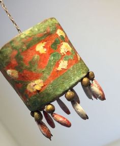 Primitive 1800s German Miniature Hanging Chandelier ALL CLAY Beads Painted RARE #Handmade
