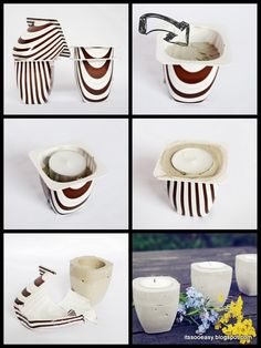New home decored easy diy candle holders Ideas Diy Simple, Easy Diy, Diy Candles Video, Diy Cement Planters, Diy Plaster, Diy Y Manualidades, Concrete Crafts, Diy Candle Holders, Creation Deco