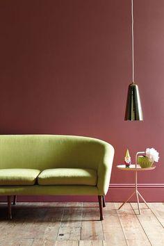 Salon avec mur peinture rose Little Greene