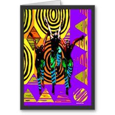 African warrior  war dance card