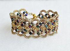 Handmade Wire, Handmade Jewelry, Beaded Jewelry, Beaded Bracelets, Beading Projects, Schmuck Design, Bracelet Patterns, Swarovski, Victorian