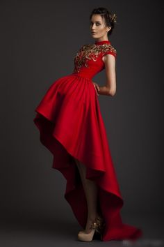 Krikor Jabotian 2016 Vintage High Collar Gold Red High Low Prom Dresses Beads Appliqued Formal Evening Party Gowns Arabic Cheap Evening Gowns Cheap Sexy Dresses From Magicdress2011, $127.91| Dhgate.Com