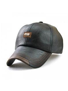 Unisex PU Leather Cap Adjustable Baseball Hat Cap Snapback Cap V61B039-US -  12966-black - CF1899XHWA3 6820d0f075e8