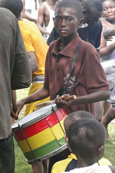 Young Drummer - Along Shore of Lake Bosumtwe - Ghana