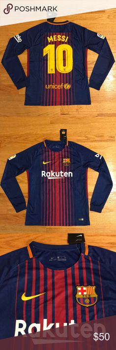 2018 MESSI Barcelona Soccer Jersey long sleeve New with tags! Men's adult sizes! Get the NEW 2017/2018 red/blue home Barcelona Long sleeve soccer jersey with the la liga patch! KING LEO MESSI #10! Support him at FCB as well as on Argentina this summer in the Russia World Cup 2018! Shirts Tees - Long Sleeve