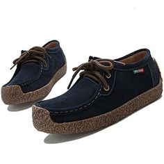 Velardeeee Sandals Womens Suede Leather LaceUp Loafers Flat Shoes Dark Blue55 BM US *** Check this awesome product by going to the link at the image.(This is an Amazon affiliate link and I receive a commission for the sales)