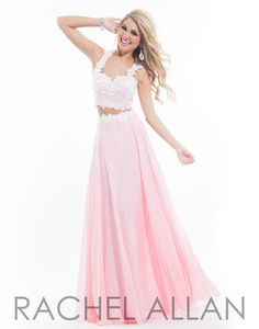 Two-piece gown with floral design on bodice and a fulll chiffon skirt Rachel ALLAN Prom