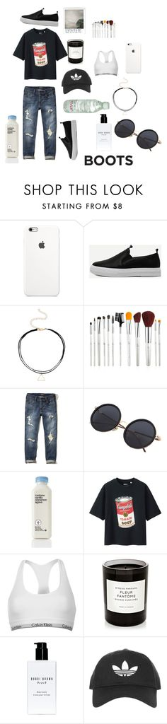 """Boots(Ives)"" by stellafab ❤ liked on Polyvore featuring Hollister Co., Uniqlo, Calvin Klein, Byredo, Bobbi Brown Cosmetics and Topshop"