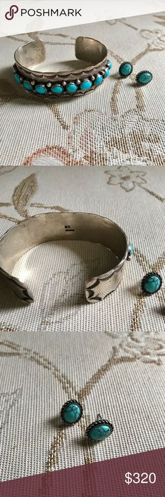 Navajo cuff One of a kind beautiful sterling silver and turquoise RC sterling stamped cuff and oval sterling silver and turquoise Chaps stamped earrings. Jewelry Bracelets
