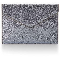 Rental Rebecca Minkoff Handbags Silver Leo Clutch (220 ZAR) ❤ liked on Polyvore featuring bags, handbags, clutches, silver, rebecca minkoff clutches, silver handbag, envelope clutch bag, silver glitter purse and silver envelope clutch