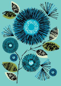 Vintage Blue, limited edition giclee print.  via Etsy.