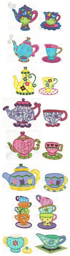 Designs by JuJu Tea Time Applique machine embroidery designs