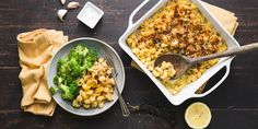 Creamy Mac n' Cheese with Green Chiles and Garlic Broccoli