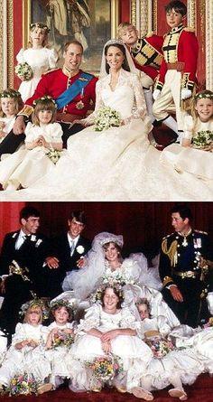 La comparación de fotos de la boda: