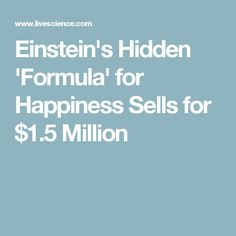 Einstein's Hidden 'Formula' for Happiness Sells for $1.5 Million