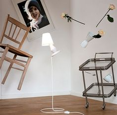 """Lamps that float! Gotta love lamps that float. The one shown above combines a floor lamp with a table lamp into a serious optical illusion. Writes OhGizmo: """"the FlapFlap..."""