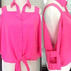 FLASH SALE‼️ Cutout Shoulder Blouse bright pink color for the girly girls out there • photos do not do this unique blouse any justice! • collared & is open on the shoulders with strappy sleeves, right photo on Covershot best shows the cutouts • button-down & ties in front • this piece is a fun must-have! Mustard Seed Tops Button Down Shirts