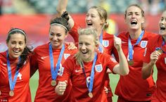 England's Laura Bassett (centre) celebrates with her team after their win in the match for...