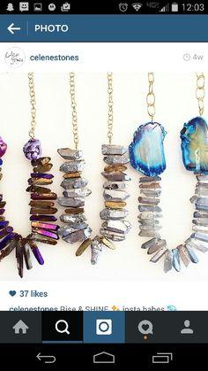Titanium quartz points necklaces handmade