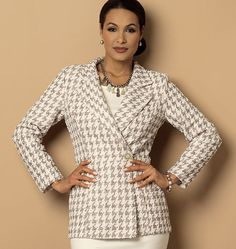 B6104  Fitted, lined jacket in three lengths has princess seams, neckline variations and long sleeves. #butterick