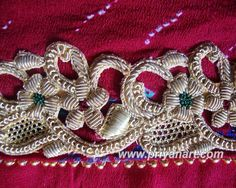 Rajasthani floral zardosi border: note the 3D effect!