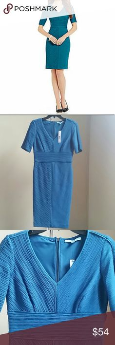 """🚨SALE🚨🆕Antonio Melani Dress Beautiful short sleeve dress with exposed zipper closure at back. Shell 97% Nylon, 3% Spandex. Lining 94% Polyester, 6% Spandex. Approx.measurements: Size 0: bust 34"""", waist 28"""", hips 35"""", length 37"""". Size 8: bust 36, waist 31"""", hips 38"""", length 38"""". Size 10: bust 37"""", waist 32"""", hips 40"""", length 39"""". 🚨Price firm!🚨 ANTONIO MELANI Dresses"""