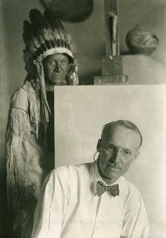 Artist Ernest L. Blumenschein with model in his studio, Taos, New Mexico Date: 1930 - 1940? Negative Number 040423 via Palace of the Governors Photo Archives FB