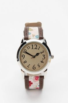 Ditsy Floral & Leather Watch (Urban Outfitters)