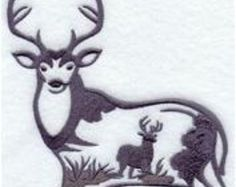 Deer Silhouette scene - Embroidered Regular or Big Mens Sweatshirt , sizes Small to 3x