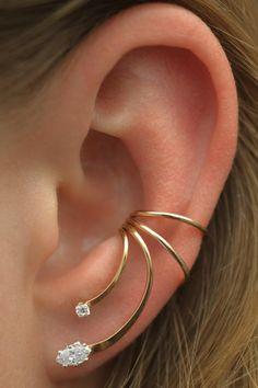 Marquise - Ear Cuff - Ear Wrap - Gold Ear Cuff - Ear Climber - Silver Ear Cuff - Earcuff - No piercing - Fake Piercing - Conch Ear Cuff - Ювелирные украшения - Piercings Bar Stud Earrings, Crystal Earrings, Gold Earrings, Ear Jewelry, Cute Jewelry, Women Jewelry, Skull Jewelry, Hippie Jewelry, Jewellery