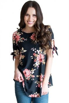 ed44f27dd58 Black Floral Print Tie Detail Short Sleeve Blouse •It is well received by  modern women