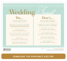 Download our Wedding Toast Do's and Don'ts (PDF)