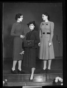 Barrett Street school, 1938 Fashion show: three models in daywear, one with muff