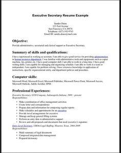 executive secretary resume example httptopresumeinfoexecutive secretary examples of secretary resumes