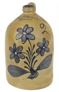Sold $2,600  New York stoneware jug, 19th c., impressed W. H. Farrar & Co. Geddes NY, with vibrant cobalt floral decoration, 13 1/2'' h.