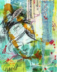 Know Myself: Giclee Reproduction From Original mixed media collage painting by Ginger Deverell, RedPearCreative, $23.18