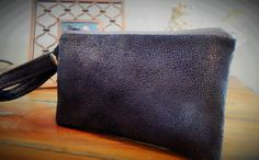 Black Faux Sueded  Phone Wristlet by KathrynBrookeDesign on Etsy