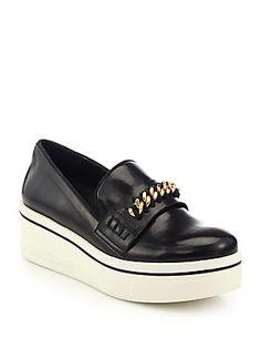 Stella McCartney Chain-Trimmed Rubber-Platform Loafers