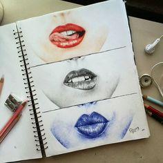#labios #lips #drawing #dibujos  con tres distintas técnicas