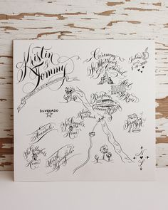 Personal Wedding Map - Line drawing. via Etsy.